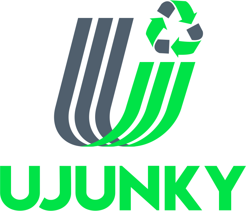 UJUNKY logo in green and grey with no background